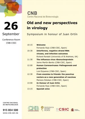 Symposium in honour of Juan Ortín (Monday, September 26)